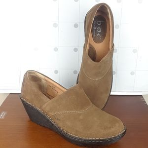 Born Tan Suede/leather Clogs